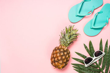 Summer travel holiday vacation background flat lay.