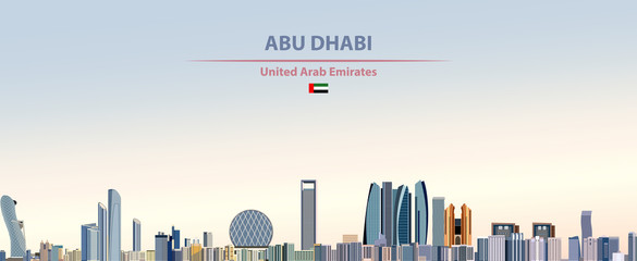 Fototapete - Vector illustration of Abu Dhabi city skyline on colorful gradient beautiful daytime background