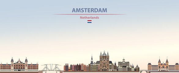 Fototapete - Vector illustration of Amsterdam city skyline on colorful gradient beautiful daytime background