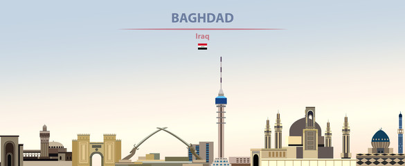 Fototapete - Vector illustration of Baghdad city skyline on colorful gradient beautiful daytime background