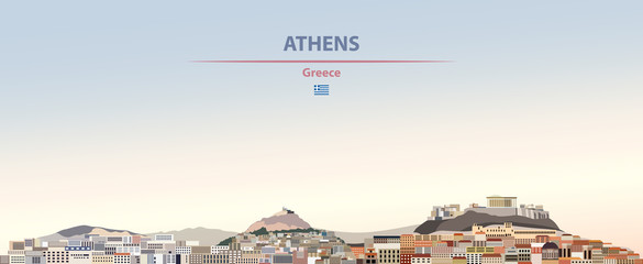 Fototapete - Vector illustration of Athens city skyline on colorful gradient beautiful daytime background