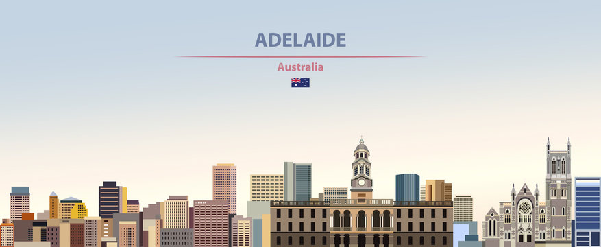 Vector illustration of Adelaide city skyline on colorful gradient beautiful daytime background