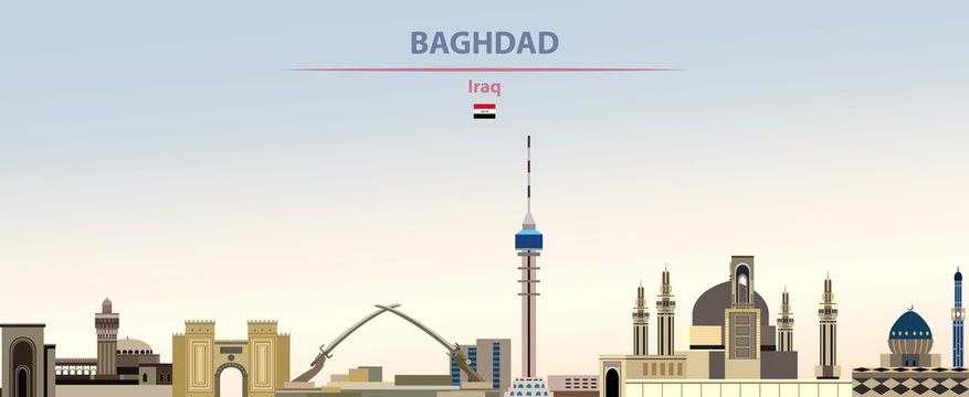 Vector illustration of Baghdad city skyline on colorful gradient beautiful daytime background
