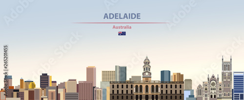 Fototapete Vector illustration of Adelaide city skyline on colorful gradient beautiful daytime background
