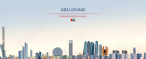 Fototapete Vector illustration of Abu Dhabi city skyline on colorful gradient beautiful daytime background