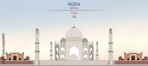 Fototapete Vector illustration of Taj Mahal on colorful gradient beautiful daytime background