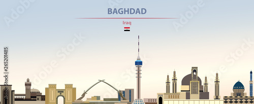 Fototapete Vector illustration of Baghdad city skyline on colorful gradient beautiful daytime background