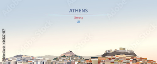 Fototapete Vector illustration of Athens city skyline on colorful gradient beautiful daytime background