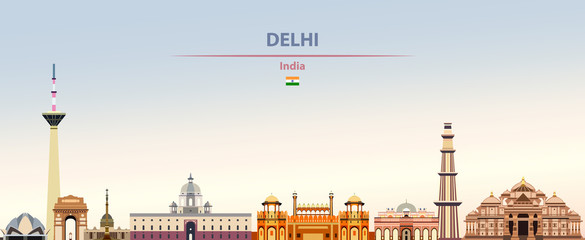 Fototapete - Vector illustration of Delhi city skyline on colorful gradient beautiful daytime background