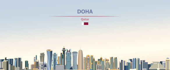 Fototapete - Vector illustration of Doha city skyline on colorful gradient beautiful daytime background