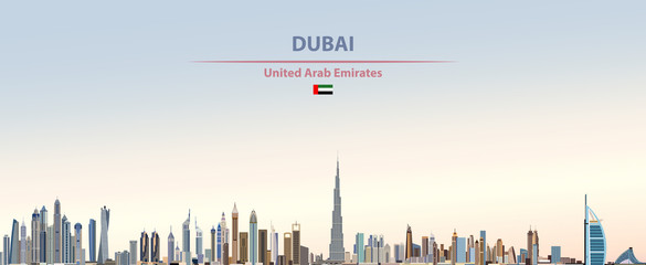 Wall Mural - Vector illustration of Dubai city skyline on colorful gradient beautiful daytime background