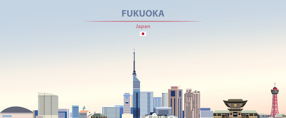 Wall Mural - Vector illustration of Fukuoka city skyline on colorful gradient beautiful daytime background