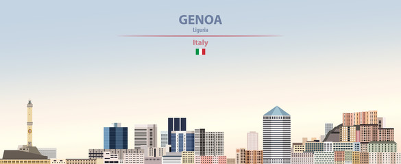 Wall Mural - Vector illustration of Genoa city skyline on colorful gradient beautiful daytime background
