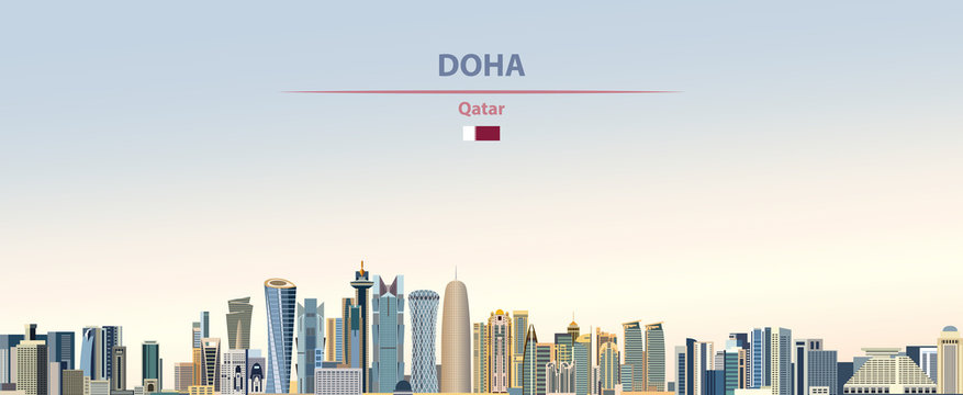 Vector illustration of Doha city skyline on colorful gradient beautiful daytime background