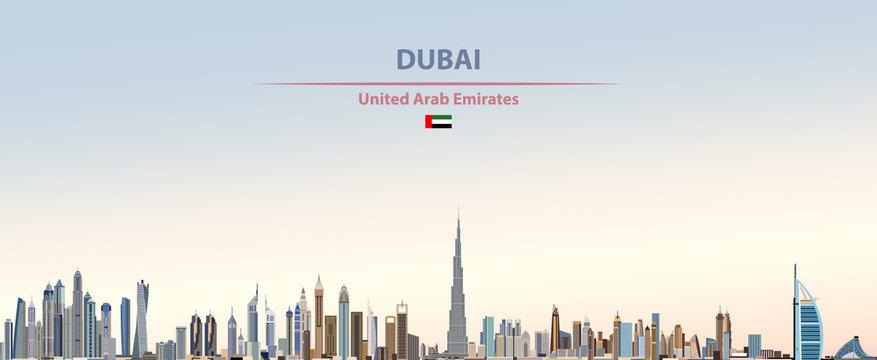 Vector illustration of Dubai city skyline on colorful gradient beautiful daytime background