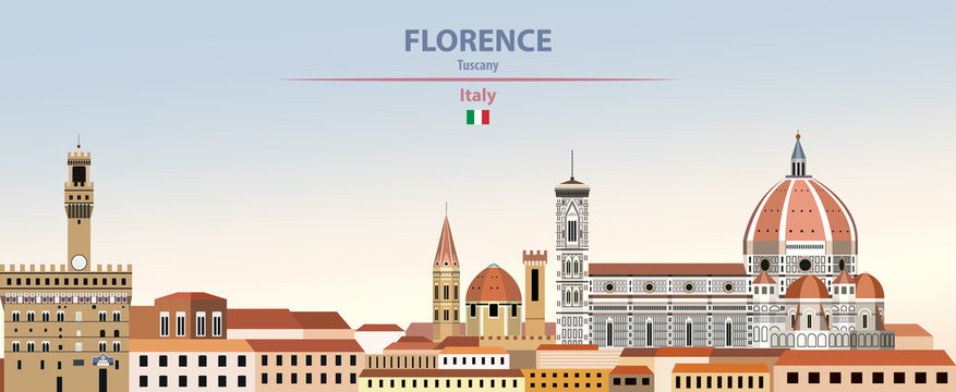 Vector illustration of Florence city skyline on colorful gradient beautiful daytime background