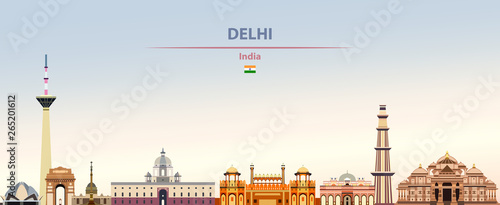 Fototapete Vector illustration of Delhi city skyline on colorful gradient beautiful daytime background