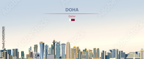 Fototapete Vector illustration of Doha city skyline on colorful gradient beautiful daytime background
