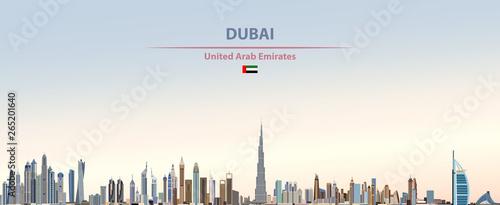 Fototapete Vector illustration of Dubai city skyline on colorful gradient beautiful daytime background