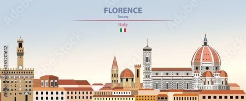 Fototapete Vector illustration of Florence city skyline on colorful gradient beautiful daytime background