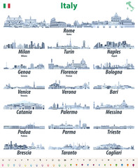Fototapete - Italian cities skylines isolated high detailed icons in tints of blue color palette. Vector illustration