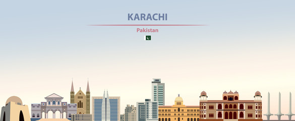 Fototapete - Vector illustration of Karachi city skyline on colorful gradient beautiful daytime background