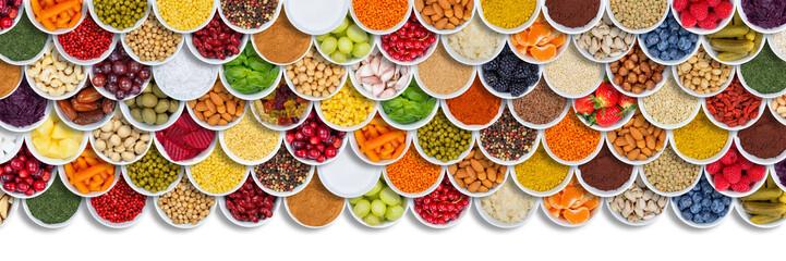Obst und Gemüse Früchte Beeren Nüsse Gewürze Zutaten Hintergrund von oben