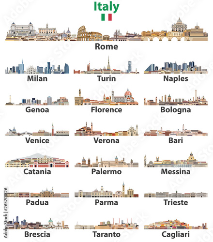 Fototapete Italy cities cities skylines isolated on white background. Vector high detailed illustration