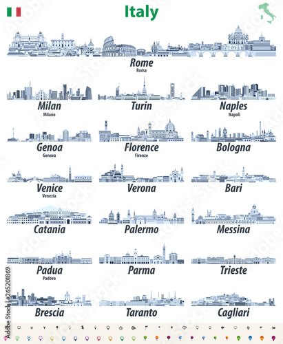 Fototapete Italian cities skylines isolated high detailed icons in tints of blue color palette. Vector illustration