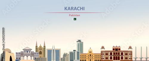 Fototapete Vector illustration of Karachi city skyline on colorful gradient beautiful daytime background