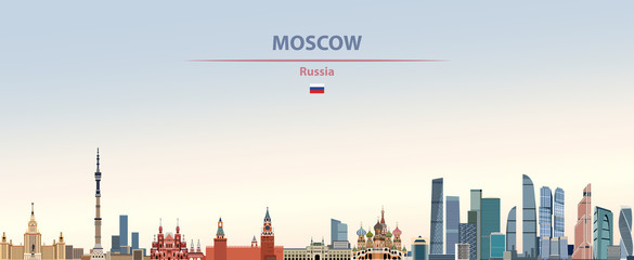 Fototapete - Vector illustration of Moscow city skyline on colorful gradient beautiful daytime background