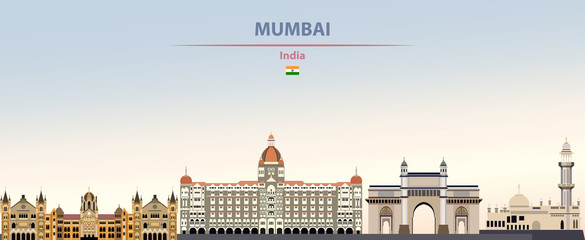 Fototapete - Vector illustration of Mumbai city skyline on colorful gradient beautiful daytime background