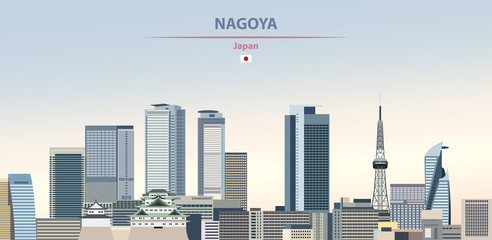 Wall Mural - Vector illustration of Nagoya city skyline on colorful gradient beautiful daytime background