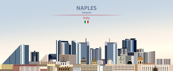 Fototapete - Vector illustration of Naples city skyline on colorful gradient beautiful daytime background