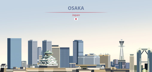 Fototapete - Vector illustration of Osaka city skyline on colorful gradient beautiful daytime background