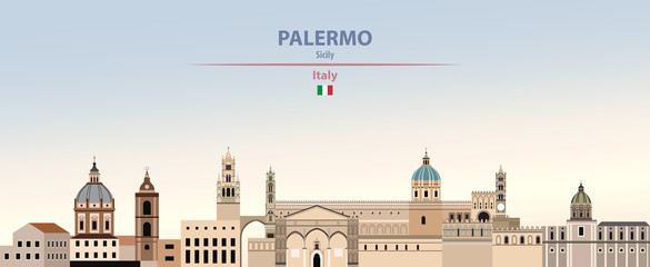 Fototapete - Vector illustration of Palermo city skyline on colorful gradient beautiful daytime background