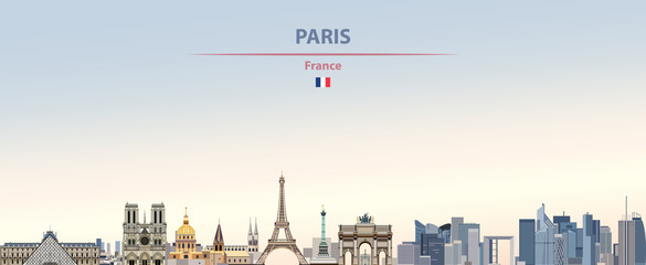 Fototapete - Vector illustration of Paris city skyline on colorful gradient beautiful daytime background