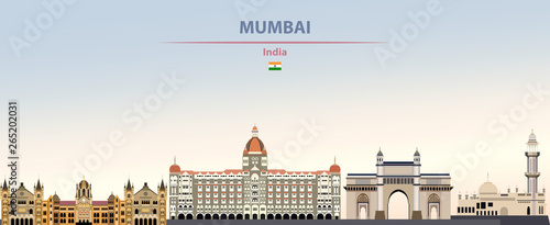 Fototapete Vector illustration of Mumbai city skyline on colorful gradient beautiful daytime background