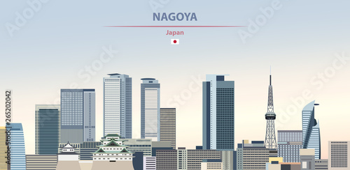Fototapete Vector illustration of Nagoya city skyline on colorful gradient beautiful daytime background