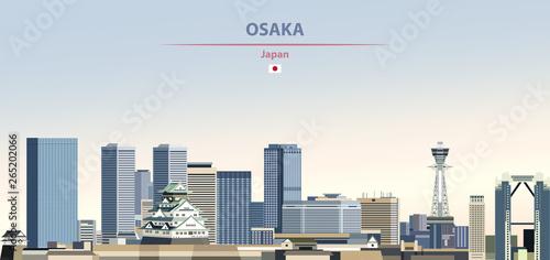 Fototapete Vector illustration of Osaka city skyline on colorful gradient beautiful daytime background