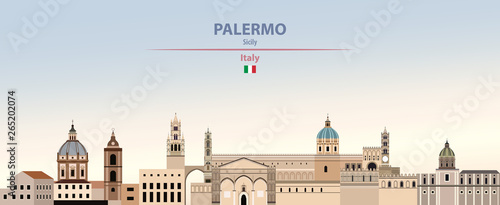 Fototapete Vector illustration of Palermo city skyline on colorful gradient beautiful daytime background