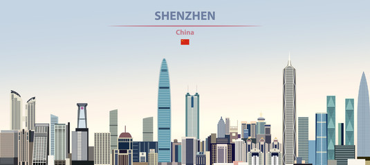 Fototapete - Vector illustration of Shenzhen city skyline on colorful gradient beautiful daytime background