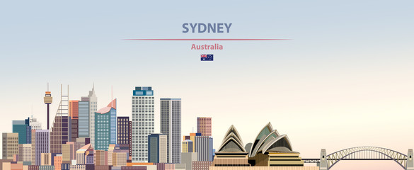 Wall Mural - Vector illustration of Sydney city skyline on colorful gradient beautiful daytime background