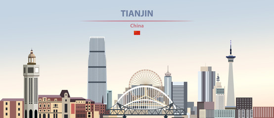 Wall Mural - Vector illustration of Tianjin city skyline on colorful gradient beautiful daytime background