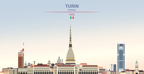 Fototapete - Vector illustration of Turin city skyline on colorful gradient beautiful daytime background