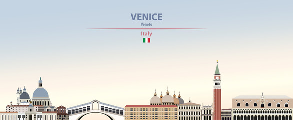 Wall Mural - Vector illustration of Venice city skyline on colorful gradient beautiful daytime background