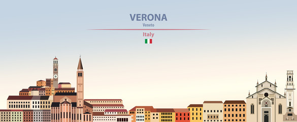 Fototapete - Vector illustration of Verona city skyline on colorful gradient beautiful daytime background