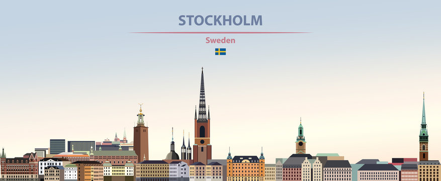 Vector illustration of Stockholm city skyline on colorful gradient beautiful daytime background