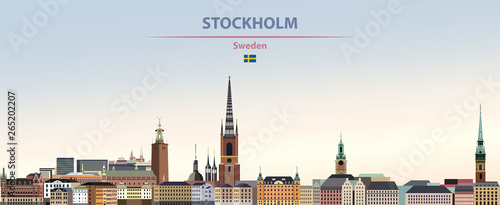 Fototapete Vector illustration of Stockholm city skyline on colorful gradient beautiful daytime background