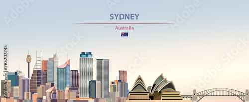 Fototapete Vector illustration of Sydney city skyline on colorful gradient beautiful daytime background